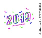 2019  happy new year. 3d look... | Shutterstock .eps vector #1229584324