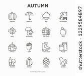 autumn thin line icons set ... | Shutterstock .eps vector #1229584897