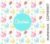 christmas hand drawn pattern...   Shutterstock .eps vector #1229585857