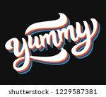 yummy hand written word. label... | Shutterstock .eps vector #1229587381