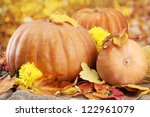 Pumpkins And Autumn Leaves  On...