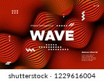 3d poster with wave stripes....   Shutterstock .eps vector #1229616004