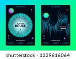 techno music poster. wave flyer ... | Shutterstock .eps vector #1229616064