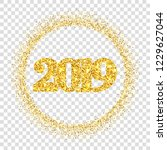 happy new year shiny gold... | Shutterstock .eps vector #1229627044