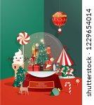 snow globe christmas greetings... | Shutterstock .eps vector #1229654014