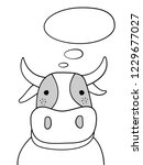 doodle sketch cow with thought... | Shutterstock .eps vector #1229677027