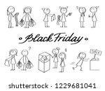 black friday stick man set.... | Shutterstock .eps vector #1229681041