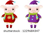 two pigs in christmas clothes.... | Shutterstock .eps vector #1229684347