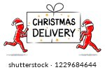christmas delivery  running... | Shutterstock .eps vector #1229684644