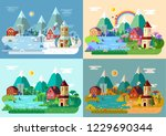 seasonal landscapes of village  ... | Shutterstock .eps vector #1229690344