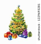 new year tree and gifts.... | Shutterstock .eps vector #1229693281