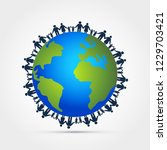 people around earth holding... | Shutterstock .eps vector #1229703421