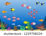 underwater world with fish and... | Shutterstock .eps vector #1229708224