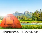 tourist tent camping in... | Shutterstock . vector #1229732734