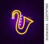 saxophone neon sign. vector... | Shutterstock .eps vector #1229747464