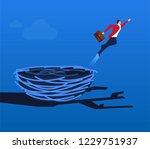 businessman flying out of the... | Shutterstock .eps vector #1229751937