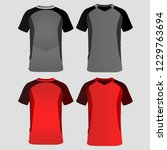 gray and red football uniform | Shutterstock .eps vector #1229763694