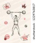 vector card design. strongman... | Shutterstock .eps vector #1229763817