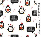 penguin. seamless pattern.... | Shutterstock .eps vector #1229767234