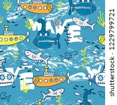 seamless pattern with submarine ...   Shutterstock .eps vector #1229799721