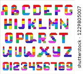 alphabet and numerals created... | Shutterstock .eps vector #1229805007