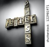 Letter press concept, 3d vintage letterpress text - stock photo