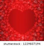red heart shape abstract bokeh... | Shutterstock . vector #1229837194