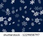 snow flakes falling macro... | Shutterstock .eps vector #1229858797