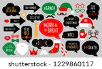 christmas photo booth props.... | Shutterstock .eps vector #1229860117