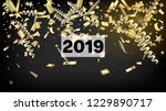2019 realistic gold tinsel... | Shutterstock .eps vector #1229890717
