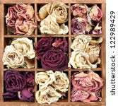 Withered Roses In Wooden Box