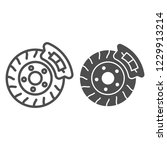 brake shoe line and glyph icon. ... | Shutterstock .eps vector #1229913214