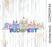 colorful budapest drawing on... | Shutterstock .eps vector #1229920534
