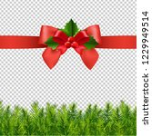 red ribbon with holly berry and ... | Shutterstock .eps vector #1229949514