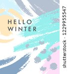 trendy winter poster with hand... | Shutterstock .eps vector #1229955547
