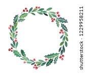 christmas wreath watercolor... | Shutterstock . vector #1229958211
