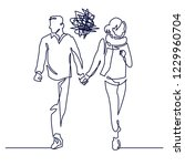 young couple walking continuous ...   Shutterstock .eps vector #1229960704