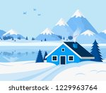 vector background with winter... | Shutterstock .eps vector #1229963764
