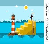 ocean waves landscape with man... | Shutterstock .eps vector #1229967904