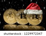 bitcoin on the christmas... | Shutterstock . vector #1229972347