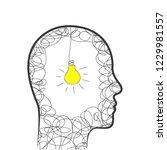 head  scribble and lightbulb as ... | Shutterstock .eps vector #1229981557