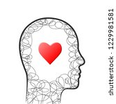 head outline with heart and... | Shutterstock .eps vector #1229981581