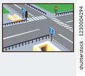 crossroads pedestrian crossing... | Shutterstock .eps vector #1230004294
