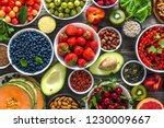 healthy food background. table... | Shutterstock . vector #1230009667