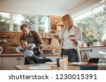 family having party during... | Shutterstock . vector #1230015391