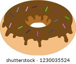 chocolate coated doughnut with... | Shutterstock .eps vector #1230035524