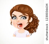 beautiful angry aggressive... | Shutterstock .eps vector #1230036634