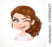 beautiful cheerily winking... | Shutterstock .eps vector #1230036637