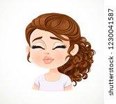beautiful  kisses cartoon... | Shutterstock .eps vector #1230041587