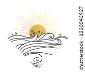 Sun And Sea Waves. Vector Hand...